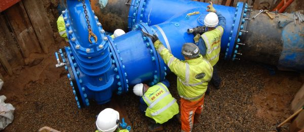 Anglian Water @one Alliance Engineers inspecting a big water pipe